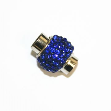 7mm - 17mm*14mm Sapphire blue stone pave crystal magnetic clasps -rhodium-10